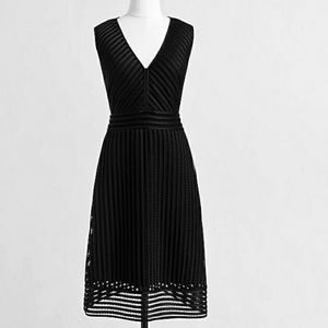 J. Crew Eyelet Stripe Dress Sz 12 Black Lined Zip